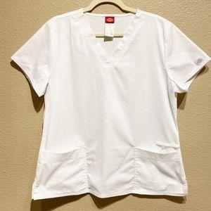 Dickies White Scrub Top Size Large